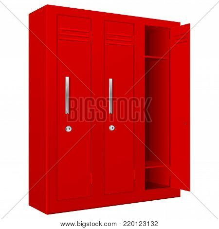 School and gym red lockers. Vector 3d illustration isolated on white background
