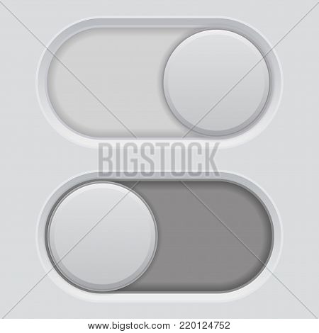 Toggle switch white buttons. Plastic interface. Vector 3d illustration