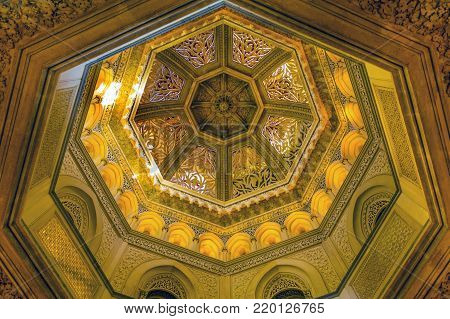MONSERRATE, PORTUGAL - October 3, 2017: The central dome of the Monserrate Palace, an exotic palatial villa located near Sintra, Portugal