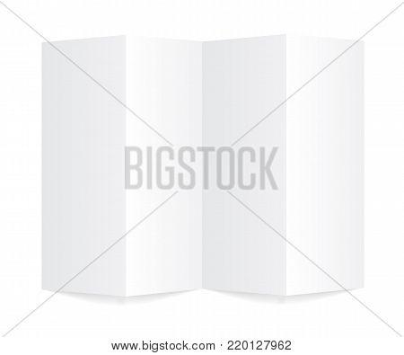 Vertical folding booklet mockup and vector illustration