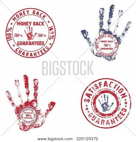 Vintage round stamp with ink hand prints. Use the effect of old, worn, stamp