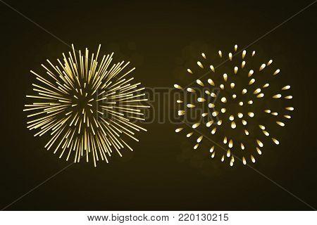 Beautiful gold fireworks set. Bright fireworks isolated black background. Light golden decoration fireworks for Christmas, New Year celebration, holiday festival, birthday card Vector illustration