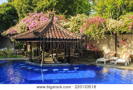 The pool of resort. The island of Bali. Indonesia.