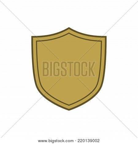 Shield shape gold icon. Simple flat logo on white background. Symbol of security, protection, safety, strong. Element badge for secure protect design emblem decoration. Vector illustration