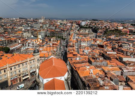Porto, Portugal, August 16, 2017:  View of Porto, Portugal from the top of the Clerics Tower