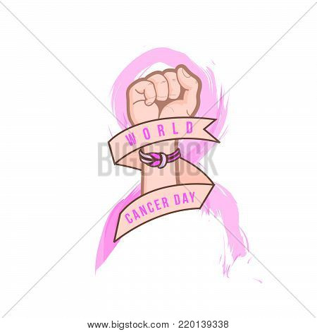 World cancer day: Cancer Awareness Ribbon and hands clenched on white Background, showing our concern to fight cancer