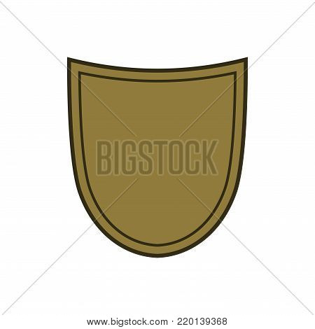 Shield shape gold icon. Simple silhouette flat logo on white background. Symbol of security, protection, safety, strong. Element for secure protect design emblem decoration. Vector illustration
