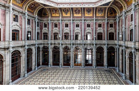 Porto, Portugal, August 15, 2017: Porto's old trading floor called the Courtyard of Nations in the Bolsa Palace, built in the 19th century by the city's Commercial Association in Neoclassical style.