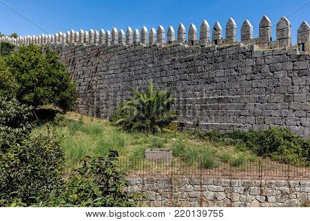 Fragment of the medieval castle called Fernandina Wall located in Porto, Portugal. Construction started in 1336 by King D. Afonso IV and completed in 1376 by King D. Fernando.