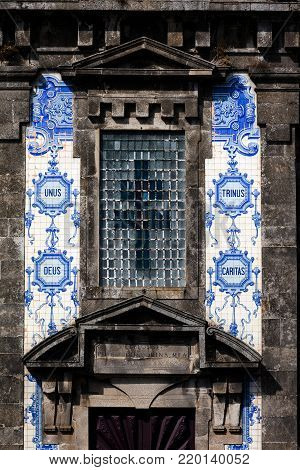 Facade of the 18th century church of Saint Ildefonso in Porto, Portugal, built in a proto-Baroque style, named in honor of the Visigoth, Ildephonsus of Toledo.