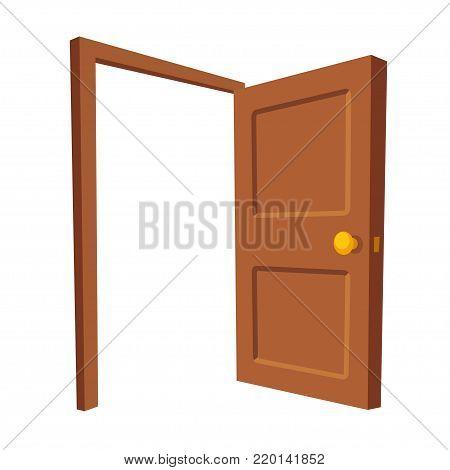 Open door isolated vector illustration. Wooden door frame in cartoon perspective.