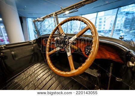 BERLIN - DECEMBER 21, 2017: Showroom. Interior of luxury car Rolls-Royce Phantom I Open Tourer, 1926. Coachwork by Windovers of London.