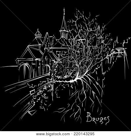Vector scenic city sketch, view of Bruges canal with beautiful medieval houses and church, Belgium. White on black