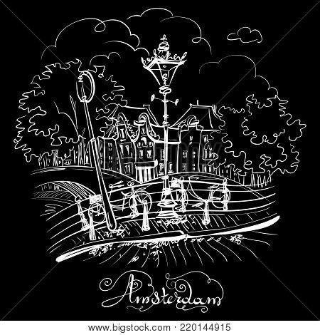 Color hand drawing, city view of Amsterdam typical houses, bridges and streetlight, Holland, Netherlands. White on black
