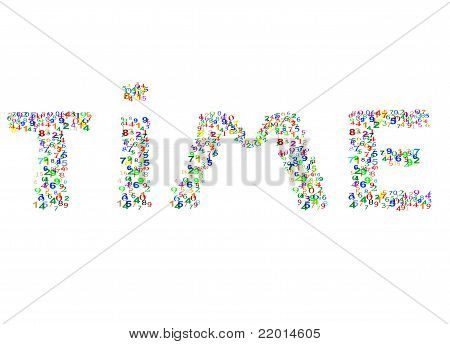 Time word made from colorful numbers