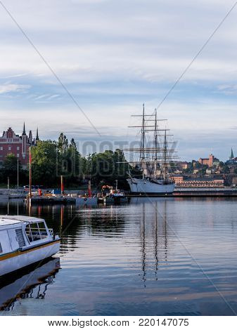 Stockholm daylight skyline panorama with stationary tall ship hotel