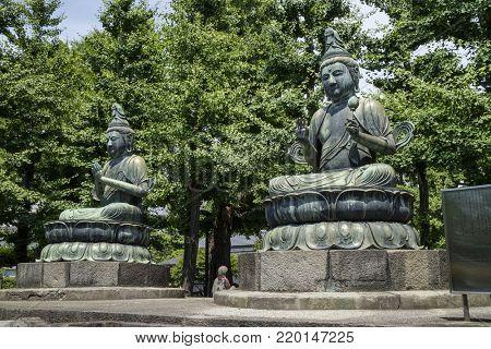 Tokyo - Japan, June 19, 2017; Statue of Kannon Bosatsu and Seishi Bosatsu at the Senso- ji temple grounds