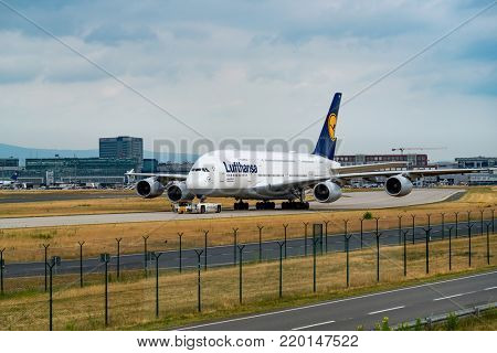 FRANKFURT,GERMANY: JUNE 23, 2017: Airbus A380 LUFTHANSA. Lufthansa, is the largest German airline and, when combined with its subsidiaries, also the largest airline in Europe