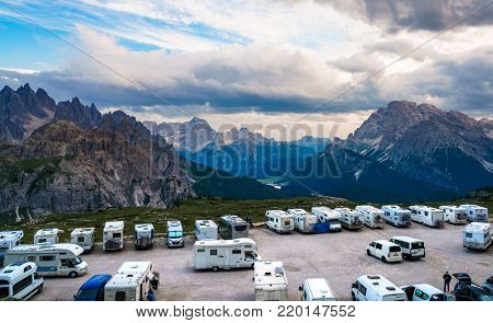 ITALY, Park Tre Cime: JULY 8, 2017: Viewing platform for motorhomes VR in National Nature Park Tre Cime In the Dolomites Alps. Beautiful nature of Italy.