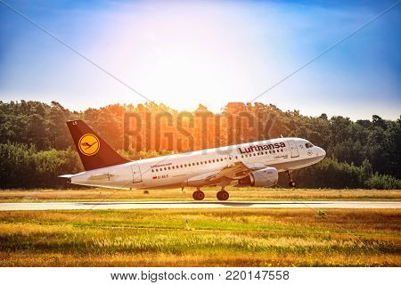 FRANKFURT,GERMANY: JUNE 22, 2017: Airbus A319 LUFTHANSA. Lufthansa, is the largest German airline and, when combined with its subsidiaries, also the largest airline in Europe
