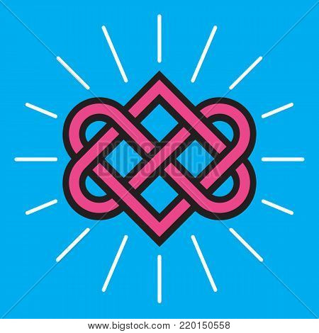 Celtic Love Knot Vector Design. Classic knot design with entwined heart shapes symbolizing eternal love and symmetry.