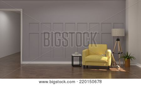 Vintage gray and  white color room interior yellow armchair in front of gray wall 3D rendering modern mid century room interior wooden floor