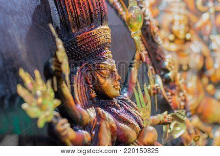 Clay made Goddess Durga , terracotta handicrafts of Bankura and Bishnupur , on display during the Handicraft Fair in Kolkata , West Bengal, India. It is the biggest handicrafts fair in Asia.