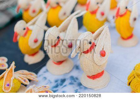 Colourful Bird dolls made of jute, artworks of handicraft, at Handicraft Fair in Kolkata - the biggest handicrafts fair in Asia.