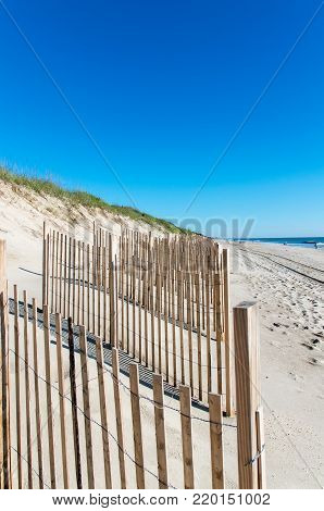 sand dunes along the shore on the outer banks north carolina