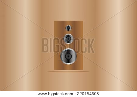 speakers wood body icon and which have sound bass, Mid tone with Treble on wooden background illustration vector