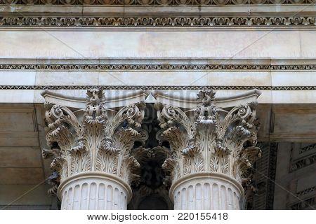 Details of two Corinthian capitals of a neo-classic European church