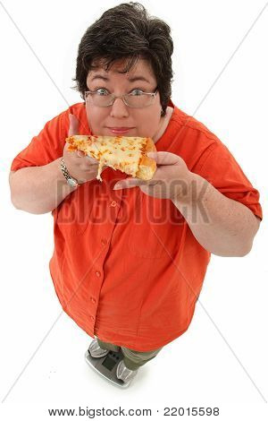 Happy Obese Woman On Scale With Pizza