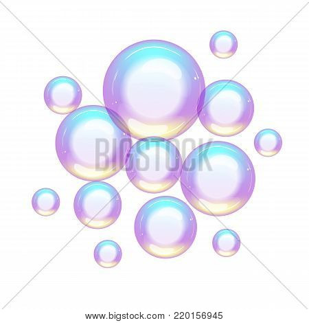 group of colorful soap bubbles small and large