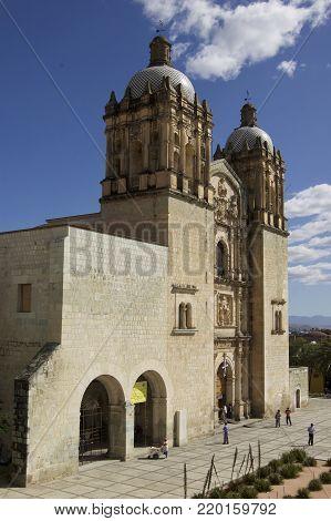 perspective of the front of the temple of Santo Domingo de Guzmán Oaxaca Mexico