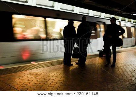 Washington D.C. - The metro station with passengers in motion blur