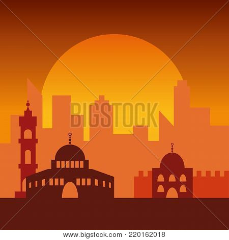 Sunset in Jerusalem. Jewish symbol city buildings. Poster of beautiful israel city