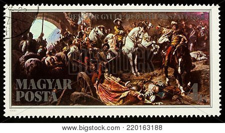 Moscow, Russia - December 30, 2017: A stamp printed in Hungary shows historical painting
