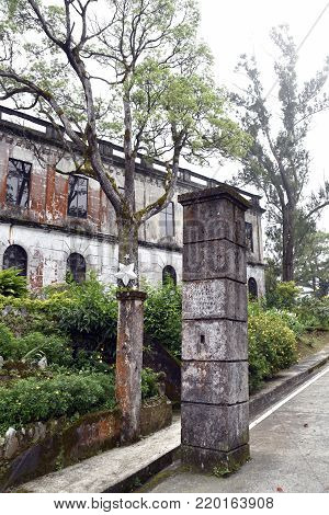 BAGUIO CITY, PHILIPPINES, DECEMBER 13, 2017, The Dominican Hill Retreat House OR Diplomat Hotel, an abandoned structure and a reportedly haunted place at top Dominican Hill