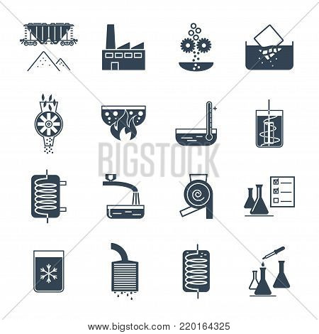 set of black icons industrial production, manufacturing process, technology, equipment