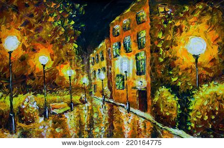 painting - night city street with old yellow orange houses. Palette knife oil painting - white lamp post, reflection, trees