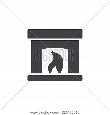 Burning fireplace icon vector, filled flat sign, solid pictogram isolated on white. Hearth symbol, logo illustration.
