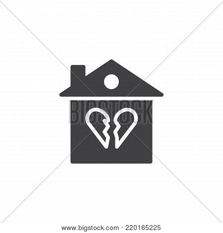 Broken family house icon vector, filled flat sign, solid pictogram isolated on white. Home with broken heart symbol, logo illustration.