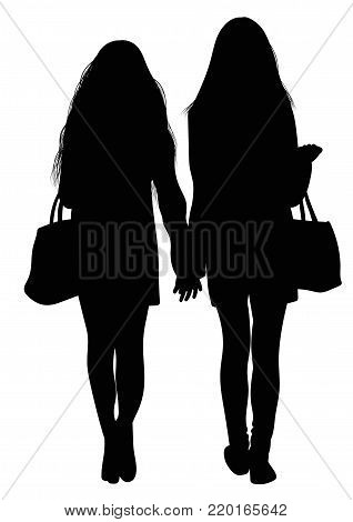 Silhouette of two walking girls holding hands - vector