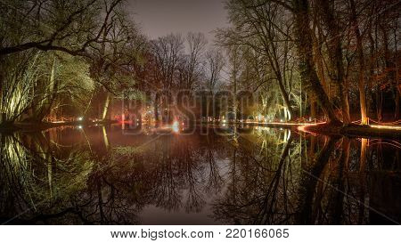 illuminated magic forrest with reflections on the water