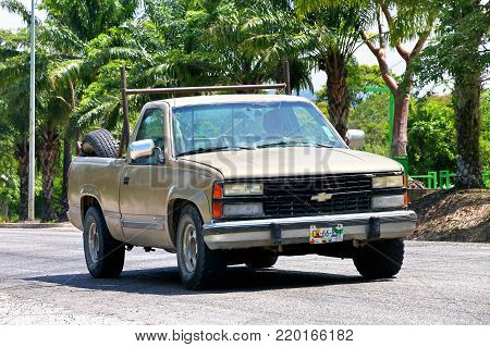 Palenque, Mexico - May 22, 2017: Pickup truck Chevrolet Cheyenne in the city street.