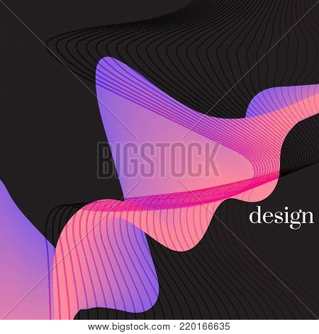 Modern holographic abstract cover. Neon mint orange line shapes with colorful twisting. Dynamic flow vector graphic. Smooth trendy wavy line . Curl flow template.