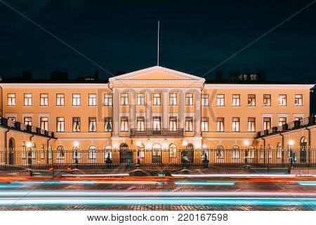 Helsinki, Finland. Presidential Palace In Evening Illuminations. Office Of President And Private Apartments For Official Functions And Receptions.