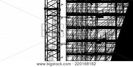black silhouette on white background scaffolding and crane at building construction, profile structure of scaffolding, construction, architecture and engineering work