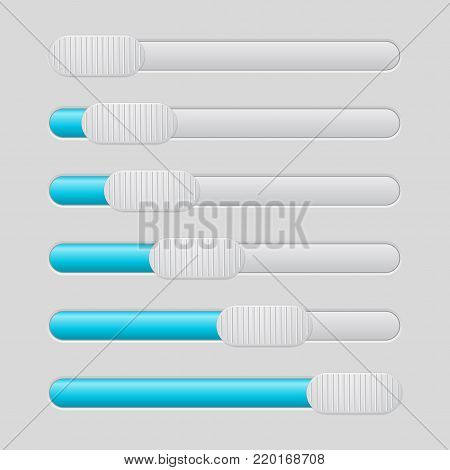 Slider bar. Blue and gray. Different levels of progress. Vector illustration