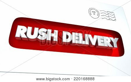 Rush Delivery Envelope Mail Expedited 3d Illustration